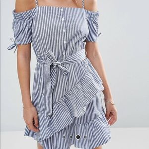 ASOS off-shoulder sundress w/ stripes and ruffles